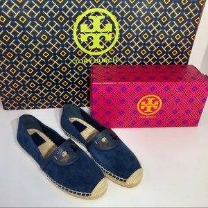 Tory Burch Sidney Espadrille Navy Suede Shoes NEW